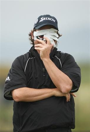 TURNBERRY, SCOTLAND - JULY 17:  Tim Clark of South Africa covers her face during round two of the 138th Open Championship on the Ailsa Course, Turnberry Golf Club on July 17, 2009 in Turnberry, Scotland.  (Photo by Andrew Redington/Getty Images)