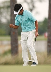 Kevin Na pumps his fist after a birdie on the eighth hole during the third round of the Ginn Sur Mer Classic at Tesoro on October 27, 2007 in Port Saint Lucie, Florida. PGA TOUR - 2007 Ginn sur Mer Classic - Third RoundPhoto by Doug Benc/WireImage.com
