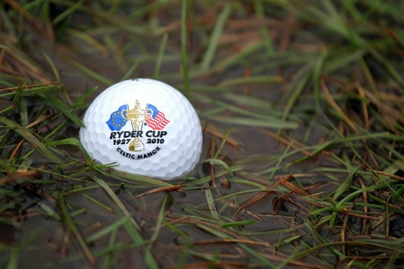 NEWPORT, WALES - OCTOBER 01:  In this photo illustration a golf ball is seen sitting in standing water after play is suspended during the Morning Fourball Matches during the 2010 Ryder Cup at the Celtic Manor Resort on October 1, 2010 in Newport, Wales.  (Photo Illustration by Jamie Squire/Getty Images)