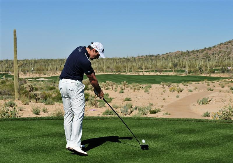 MARANA, AZ - FEBRUARY 26:  Oliver Wilson plays his tee shot on the fifth hole during the second round of Accenture Match Play Championships at Ritz - Carlton Golf Club at Dove Mountain on February 26, 2009 in Marana, Arizona.  (Photo by Stuart Franklin/Getty Images)
