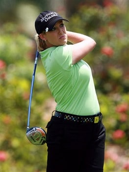 AVENTURA, FL - APRIL 26:  Cristie Kerr follows her drive on the ninth hole during the third round of the Stanford International Pro-Am at Fairmont Turnberry Isle Resort & Club on April 26, 2008 in Aventura, Florida.  (Photo by Doug Benc/Getty Images)
