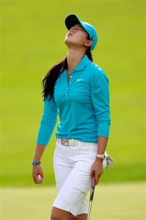 GLADSTONE, NJ - MAY 20: Michelle Wie reacts after missing her birdie putt to win on the eighteenth green against Anna Nordqvist of Sweden in round two of the Sybase Match Play Championship at Hamilton Farm Golf Club on May 20, 2011 in Gladstone, New Jersey. (Photo by Chris Trotman/Getty Images)