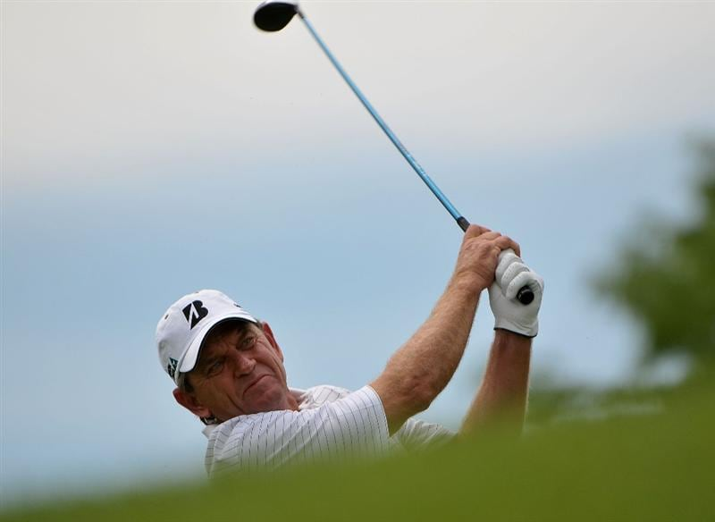 WEST DES MOINES, IA - MAY 31:  Nick Price tees off the 4th hole during the third and final round of the Principal Charity Classic held at the Glen Oaks Country Club on May 31, 2009 in West Des Moines, Iowa. (Photo by Marc Feldman/Getty Images)