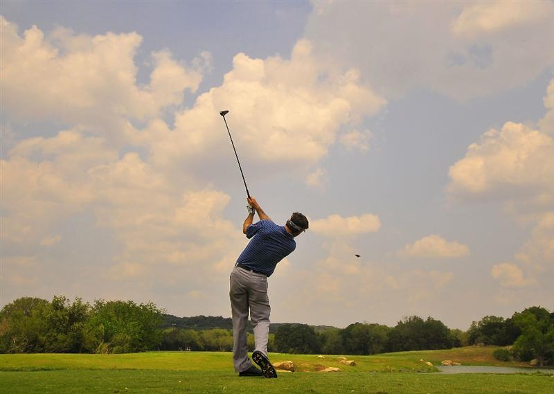 SAN ANTONIO TX. - MAY 15:  Mark Wilson tees off the 2nd hole during the second round of  the Valero Texas Open held at La Cantera Golf Club on May 15, 2009 in San Antonio, Texas.  (Photo by Marc Feldman/Getty Images)