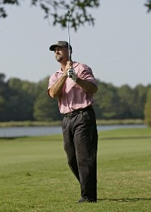 Marco Dawson hits his approach shot on the 9th hole during the first round of the Southern Farm Bureau Classic at Annandale Golf Club in Madison, Mississippi, on September 28, 2006. Photo by Hunter Martin/WireImage.com
