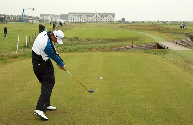 CARNOUSTIE, SCOTLAND - OCTOBER 09:  Robert Karlsson of Sweden drives off the 18th tee during the third round of The Alfred Dunhill Links Championship at the Carnoustie Golf Links on October 9, 2010 in Carnoustie, Scotland.  (Photo by Andrew Redington/Getty Images)