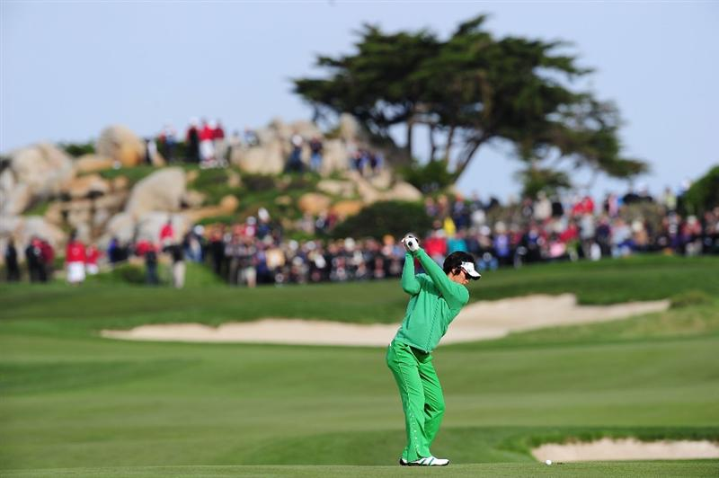 PEBBLE BEACH, CA - FEBRUARY 11:  Ryo Ishikawa of Japan plays a shot on the sixth hole during round one of the AT&T Pebble Beach National Pro-Am at Monterey Peninsula Country Club Shore Course on February 11, 2010 in Pebble Beach, California.  (Photo by Stuart Franklin/Getty Images)