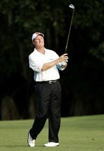 Joe Durant on the 18th hole during the third round of the 2006 FUNAI Classic at WALT DISNEY WORLD Resort on the Magnolia Course in Lake Buena Vista, Florida, on October 21, 2006. PGA TOUR - 2006 FUNAI Classic at the WALT DISNEY WORLD Resort - Third RoundPhoto by Sam Greenwood/WireImage.com