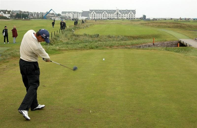 CARNOUSTIE, SCOTLAND - OCTOBER 09:  Padraig Harrington of Ireland drives off the 18th tee during the third round of The Alfred Dunhill Links Championship at the Carnoustie Golf Links on October 9, 2010 in Carnoustie, Scotland.  (Photo by Andrew Redington/Getty Images)
