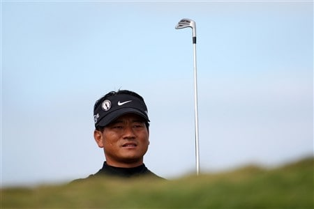 SOUTHPORT, UNITED KINGDOM - JULY 20:  KJ Choi of South Korea looks on during the final round of the 137th Open Championship on July 20, 2008 at Royal Birkdale Golf Club, Southport, England.  (Photo by Ross Kinnaird/Getty Images)