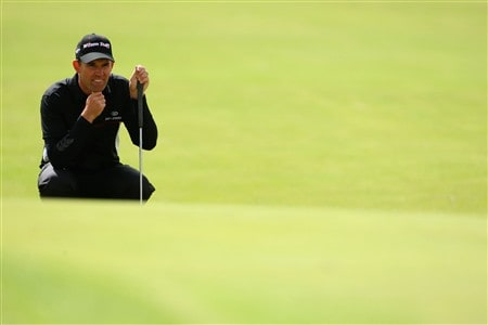 SOUTHPORT, UNITED KINGDOM - JULY 19:  Padraig Harrington of the Republic of Ireland lines up a putt during the third round of the 137th Open Championship on July 19, 2008 at Royal Birkdale Golf Club, Southport, England.  (Photo by Stuart Franklin/Getty Images)