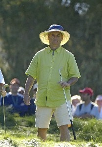 Bill Murray with a hat he borrowed from a spectator during the first round of the  AT&T Pebble Beach National Pro-Am on Spyglass Hill Golf Course in Pebble Beach, California on February 10, 2006.Photo by Marc Feldman/WireImage.com
