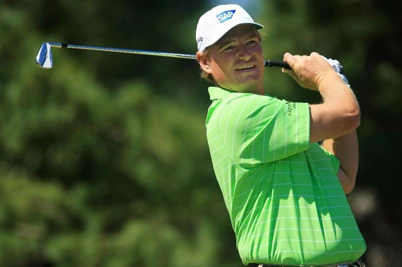 ATLANTA - SEPTEMBER 25:  Ernie Els of South Africa plays his tee shot on the second hole during the first round of THE TOUR Championship at East Lake Golf Club on September 25, 2008 in Atlanta, Georgia.  (Photo by Scott Halleran/Getty Images)