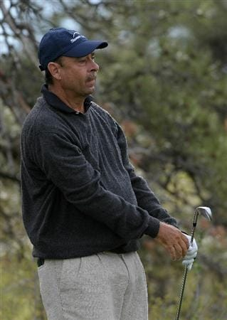 PARKER, CO. - MAY 16:   Brad Bryant tees off the 11th hole during the first round of the Senior PGA Championship at the Colorado Golf Club  on May 27, 2010 in Parker, Colorado.  (Photo by Marc Feldman/Getty Images)