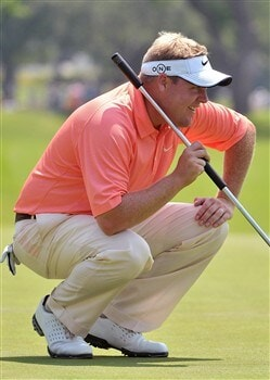 FORT WORTH , TX - MAY 23:  Carl Pettersson lines up a birdie putt on the 15th hole  during the second round of the Crowne Plaza Invitational at Colonial Country Club on May 23, 2008 in Fort Worth, Texas  (Photo by Marc Feldman/Getty Images)