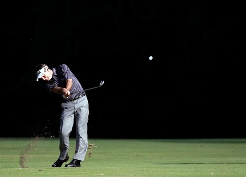 LAKE BUENA VISTA, FL - NOVEMBER 13:  Mark Wilson plays a shot on the 18th hole during the third round of the Children's Miracle Network Classic at the Disney Palm and Magnolia course on November 13, 2010 in Lake Buena Vista, Florida.  (Photo by Sam Greenwood/Getty Images)