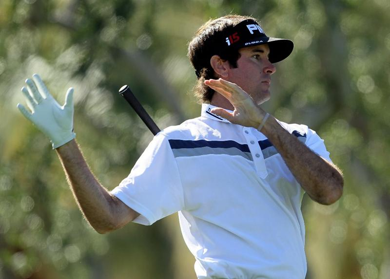 LA QUINTA, CA - JANUARY 25:  Bubba Watson lets go of his club after hitting a tee shot on the 11th hole during the final round of the Bob Hope Classic at the Palmer Private Course at PGA West on January 25, 2010 in La Quinta, California.  (Photo by Jeff Gross/Getty Images)