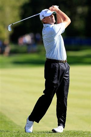 NORTON, MA - SEPTEMBER 06:  Steve Stricker hits a shot on the ninth hole during the final round of the Deutsche Bank Championship at TPC Boston on September 6, 2010 in Norton, Massachusetts.  (Photo by Michael Cohen/Getty Images)