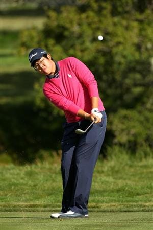 PEBBLE BEACH, CA - JUNE 17:  Amateur Byeong-Hun An of Korea hits a shot on the second hole during the first round of the 110th U.S. Open at Pebble Beach Golf Links on June 17, 2010 in Pebble Beach, California.  (Photo by Ross Kinnaird/Getty Images)