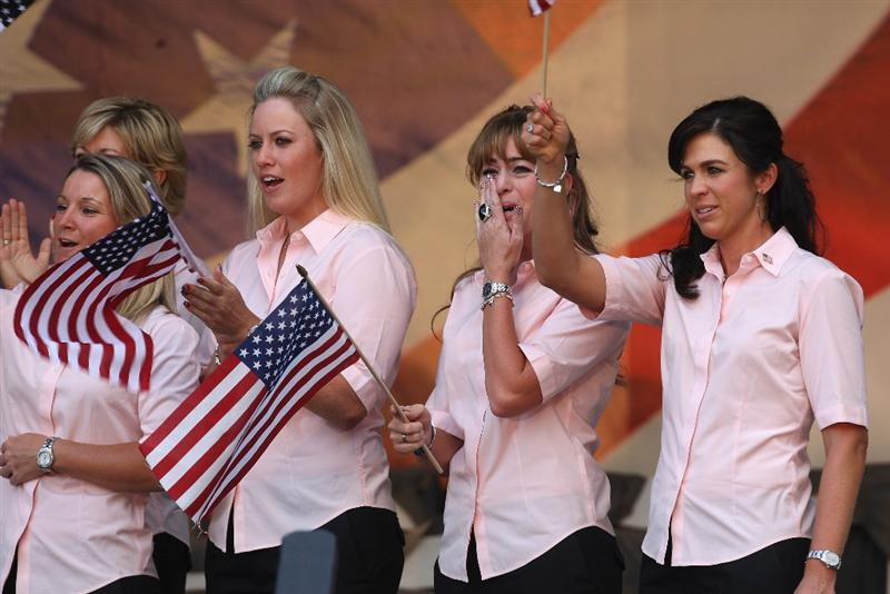 SUGAR GROVE, IL - AUGUST 20:  USA Team members (left to right) Kristy McPherson, Brittany Lincicome, Paula Creamer and Nicole Castrale during the Opening Ceremony for the 2009 Solheim Cup Matches, at the Rich Harvest Farms Golf Club on August 20, 2009 in Sugar Grove, Ilinois  (Photo by David Cannon/Getty Images)