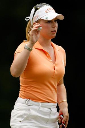 BETHLEHEM, PA - JULY 11:  Morgan Pressel reacts after making a putt on the 12th hole during the third round of the 2009 U.S. Women's Open at Saucon Valley Country Club on July 11, 2009 in Bethlehem, Pennsylvania.  (Photo by Chris Graythen/Getty Images)