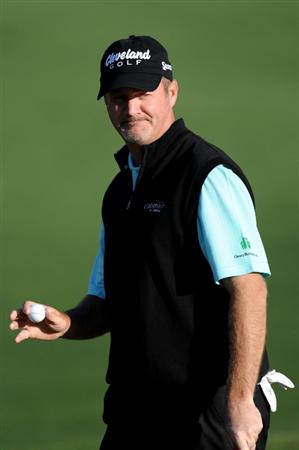 AUGUSTA, GA - APRIL 07:  Jerry Kelly reacts after making birdie on the second hole during the first round of the 2011 Masters Tournament at Augusta National Golf Club on April 7, 2011 in Augusta, Georgia.  (Photo by Harry How/Getty Images)