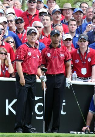 ORLANDO, FL - MARCH 16:  Tiger Woods and John Cook of the USA and the Isleworth Team at the 8th hole during the first day of the 2009 Tavistock Cup at the Lake Nona Golf and Country Club, on March 16, 2009 in Orlando, Florida  (Photo by David Cannon/Getty Images)