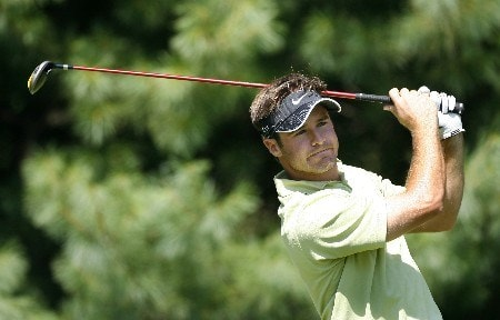 PARAMUS, NJ - AUGUST 22: Trevor Immelman of South Africa plays a shot during the second round of The Barclays at Ridgewood Country Club on August 22, 2008 in Paramus, New Jersey. (Photo by Hunter Martin/Getty Images)