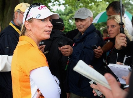 SUNNINGDALE, UNITED KINGDOM - AUGUST 03:  Annika Sorenstam of Swedenspeaks with journalists after competing in her final major championship during the final round of the 2008 Ricoh Women's British Open held on the Old Course at Sunningdale Golf Club on Ausgust 3, 2008 in Sunningdale, England.  (Photo by Warren Little/Getty Images)