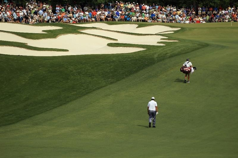 CHARLOTTE, NC - MAY 07:  Phil Mickelson walks up the 5th hole during the third round of the Wells Fargo Championship at Quail Hollow Club on May 7, 2011 in Charlotte, North Carolina.  (Photo by Streeter Lecka/Getty Images)