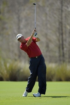 NAPLES, FL - FEBRUARY 16:  Don Pooley hits his second shot on the ninth hole during the second round of the ACE Group Classic at Quail West on February 16, 2008 in Naples, Florida. (Photo by Scott A. Miller/Getty Images)