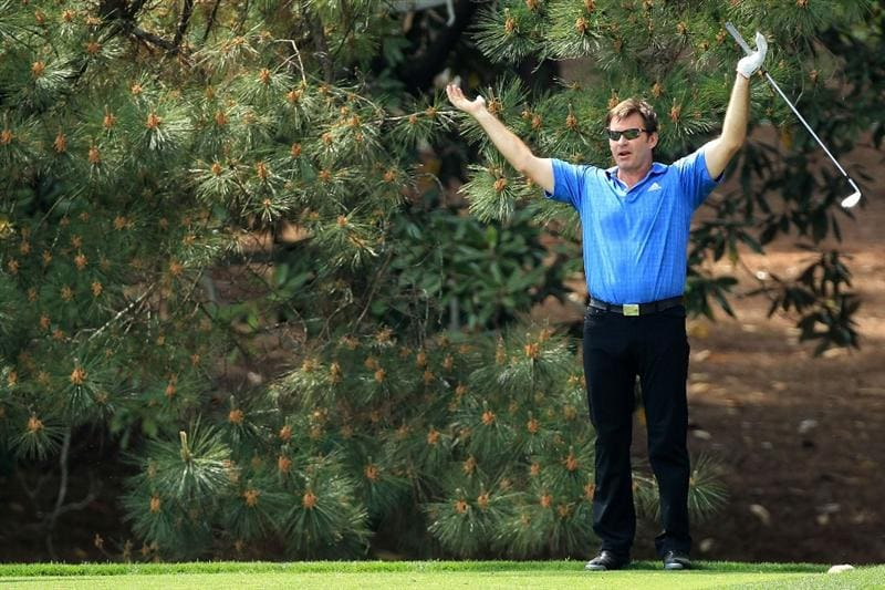 AUGUSTA, GA - APRIL 07:  Nick Faldo of England reacts to a shot during the Par 3 Contest prior to the 2010 Masters Tournament at Augusta National Golf Club on April 7, 2010 in Augusta, Georgia.  (Photo by David Cannon/Getty Images)