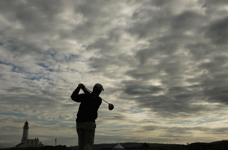 TURNBERRY, SCOTLAND - JULY 14:  David Higgins of Ireland tees off during a practice round prior to the 138th Open Championship on the Ailsa Course, Turnberry Golf Club on July 14, 2009 in Turnberry, Scotland.  (Photo by Ross Kinnaird/Getty Images)