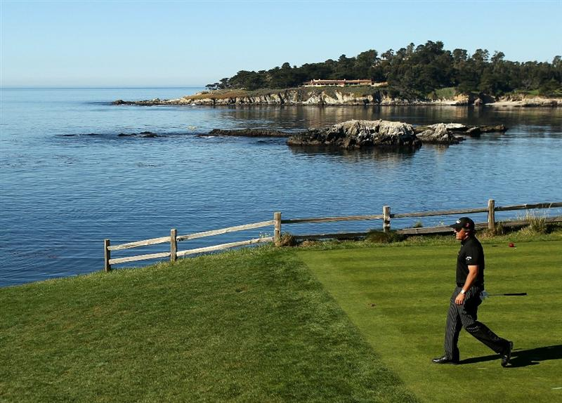 PEBBLE BEACH, CA - FEBRUARY 12:  Phil Mickelson walks off the tee box on the 7th hole during the third round of the AT&T Pebble Beach National Pro-Am at the Pebble Beach Golf Links on February 12, 2011 in Pebble Beach, California.  (Photo by Ezra Shaw/Getty Images)