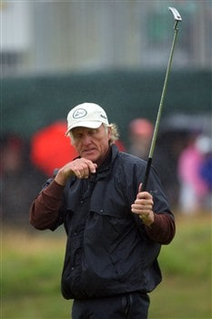 SOUTHPORT, UNITED KINGDOM - JULY 18:  Greg Norman of Australia reacts on the 3rd green during the second round of the 137th Open Championship on July 18, 2008 at Royal Birkdale Golf Club, Southport, England.  (Photo by Stuart Franklin/Getty Images)