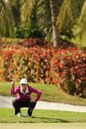 WEST PALM BEACH, FL - NOVEMBER 22:  Helen Alfredsson of Sweden lines up a putt on the fifth hole during the third round of the ADT Championship at the Trump International Golf Club on November 22, 2008 in West Palm Beach, Florida.  (Photo by Montana Pritchard/Getty Images)