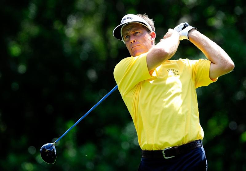 PALM HARBOR, FL - MARCH 19:  Stuart Appleby of Australia plays a shot on the 9th hole during the first round of the Transitions Championship at the Innisbrook Resort and Golf Club on March 19, 2009 in Palm Harbor, Florida.  (Photo by Sam Greenwood/Getty Images)