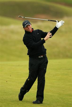 KINGSBARNS, SCOTLAND - OCTOBER 09:  Pablo Martin of Spain lets go of his club playing his second shot on the sventh hole during the third round of The Alfred Dunhill Links Championship at the Kingsbarns Golf Links on October 9, 2010 in Kingsbarns, Scotland.  (Photo by Warren Little/Getty Images)