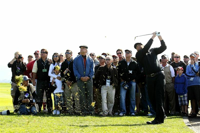 PEBBLE BEACH, CA - FEBRUARY 13:  Steve Marino hits a shot out of the rough on the 14th hole during the final round of the AT&T Pebble Beach National Pro-Am at the Pebble Beach Golf Links on February 13, 2011 in Pebble Beach, California.  (Photo by Ezra Shaw/Getty Images)