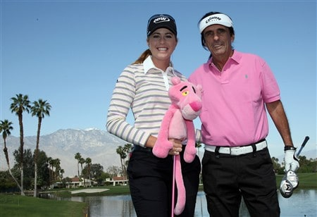 RANCHO MIRAGE, CA - APRIL 02:  Paula Creamer of the USA poses with her 'Pink Panther' 3 wood and her amateur playing partner musician Alice Cooper on the 5th hole during the pro-am preview for the Kraft Nabisco Championship at the Mission Hills Country Club, on April 2, 2008 in Rancho Mirage, California.  (Photo by David Cannon/Getty Images)