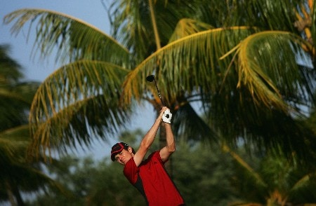 MIAMI - MARCH 19:  Justin Rose of England tees off on the 11th hole during practice for the 2008 World Golf Championships CA Championship at the Doral Golf Resort & Spa, on March 19, 2008 in Miami, Florida.  (Photo by Warren Little/Getty Images)