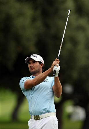 SOTOGRANDE, SPAIN - OCTOBER 30:  Gareth Maybin of Northern Ireland plays into the 1st green during the third round of the Andalucia Valderrama Masters at Club de Golf Valderrama on October 30, 2010 in Sotogrande, Spain.  (Photo by Richard Heathcote/Getty Images)