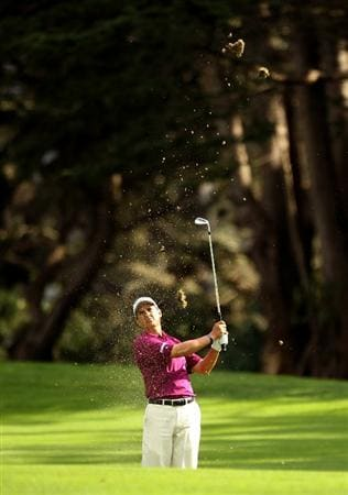 SAN FRANCISCO - NOVEMBER 04:  Tom Pernice Jr. hits his approach shot on the 16th hole during round 1 of the Charles Schwab Cup Championship at Harding Park Golf Course on November 4, 2010 in San Francisco, California.  (Photo by Ezra Shaw/Getty Images)
