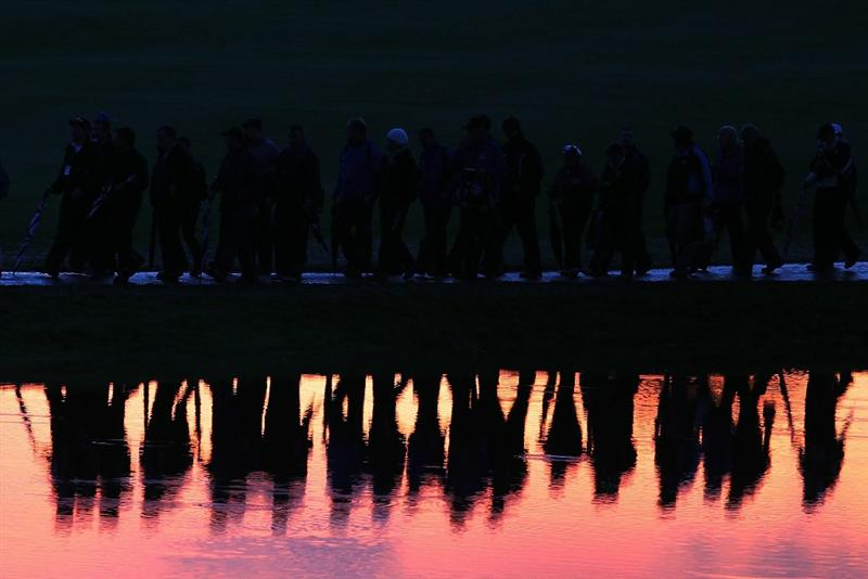 NEWPORT, WALES - OCTOBER 01:  Golf fans leave the course during the Morning Fourball Matches during the 2010 Ryder Cup at the Celtic Manor Resort on October 1, 2010 in Newport, Wales.  (Photo by Andy Lyons/Getty Images)
