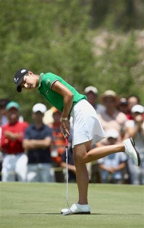 MORELIA, MEXICO- APRIL 26:  Lorena Ochoa of Mexico reacts to a missed birdie attempt during the final round of the Corona Championship at the Tres Marias Residential Golf Club on April 26, 2009 in Morelia, Michoacan, Mexico. (Photo by Donald Miralle/Getty Images)