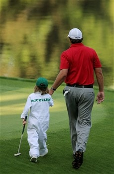 AUGUSTA, GA - APRIL 09:  Phil Mickelson walks with his son Evan during the Par 3 Contest prior to the start of the 2008 Masters Tournament at Augusta National Golf Club on April 9, 2008 in Augusta, Georgia.  (Photo by Harry How/Getty Images)
