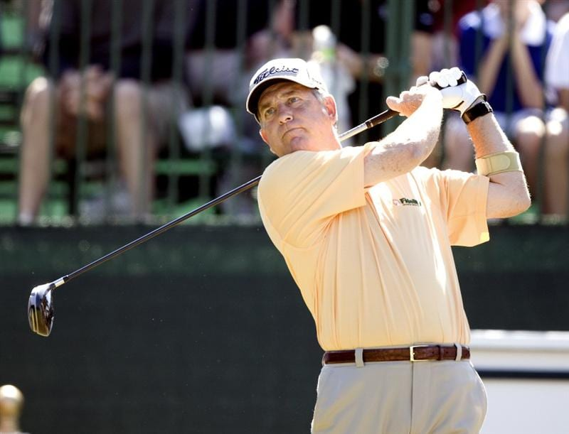 THE WOODLANDS, TX - OCTOBER 18: Jay Haas watches his secod shot  off on the first hole during the final round of the Administaff Small Business Classic at The Woodlands Country Club Tournament Course on October 18, 2009 in The Woodlands, Texas.  (Photo by Bob Levey/Getty Images)