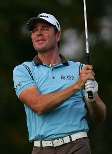 Brett Rumford of Australia watches a shot on the sixth hole during the final round of the PGA Tour Qualifying tournament at Orange County National December 3, 2007 in Winter Garden, Florida. PGA TOUR - 2007 PGA TOUR Qualifying School - Round FivePhoto by Sam Greenwood/WireImage.com