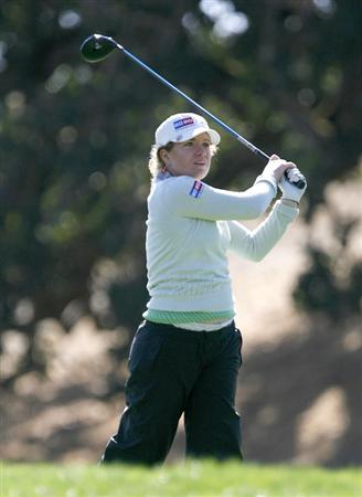 DANVILLE, CA - OCTOBER 10: Mikaela Parmlid of Sweden makes a tee shot on the 13th hole during the second round of the LPGA Longs Drugs Challenge at the Blackhawk Country Club October 10, 2008 in Danville, California. (Photo by Max Morse/Getty Images)