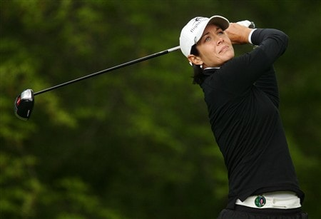 CORNING, NY - MAY 22:   Laura Diaz hits her tee shot on the 12th hole during the first round of the LPGA Corning Classic at Corning Country Club May 22, 2008 in Corning, New York.  (Photo by Kyle Auclair/Getty Images)